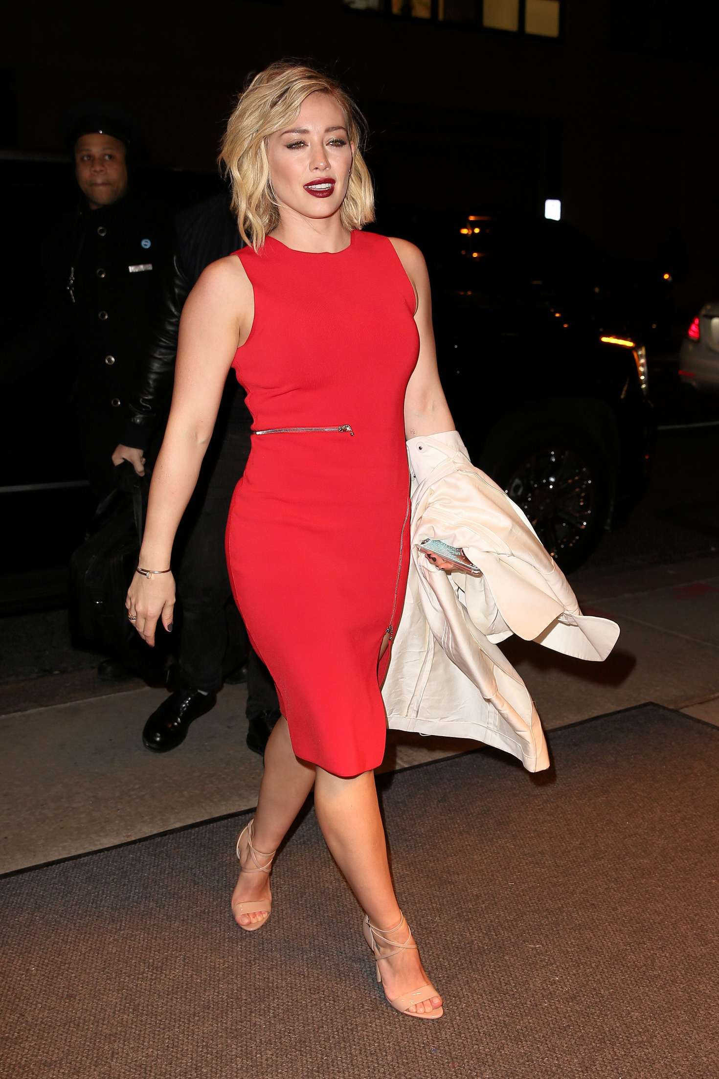 Hilary Duff In Red Dress Out In Soho