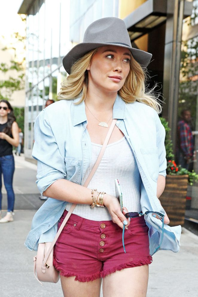 Hilary Duff in Red Jeans Shorts out in New York