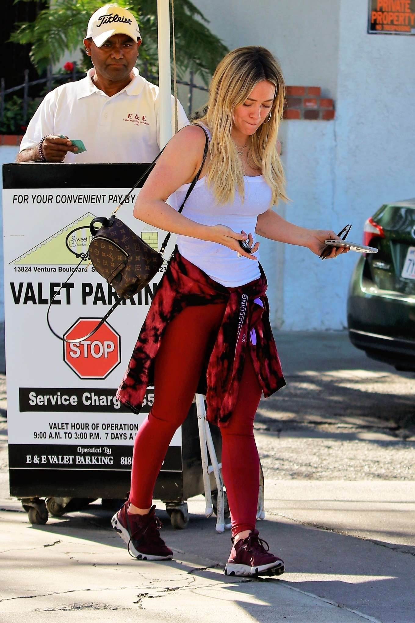 Hilary Duff 2020 : Hilary Duff in Red Tights – Out for lunch in Los Angeles-06