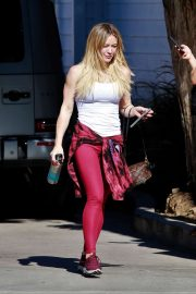 Hilary Duff in Red Tights - Out for lunch in Los Angeles