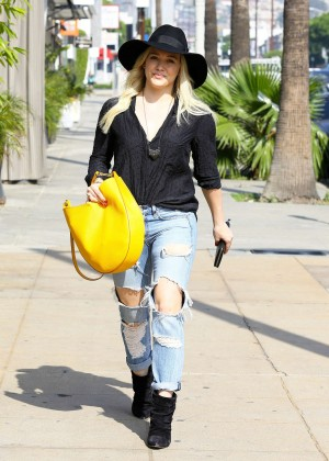 Hilary Duff in Ripped Jeans and Hat Out in West Hollywood