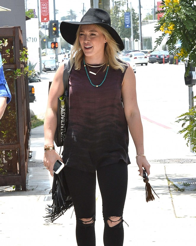 Hilary Duff in Ripped Jeans Out in LA