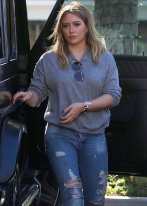 Hilary Duff in Ripped Jeans - Out in Beverly HIlls