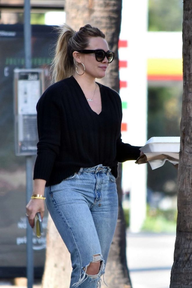 Hilary Duff in Ripped Jeans - Out in Los Angeles