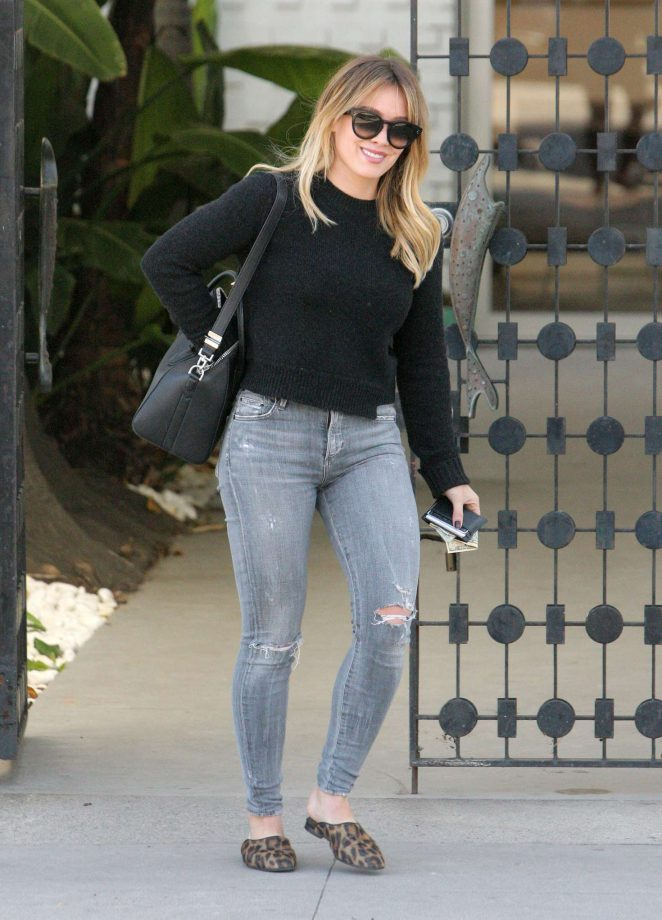 Hilary Duff in Ripped Jeans Shopping in Beverly Hills