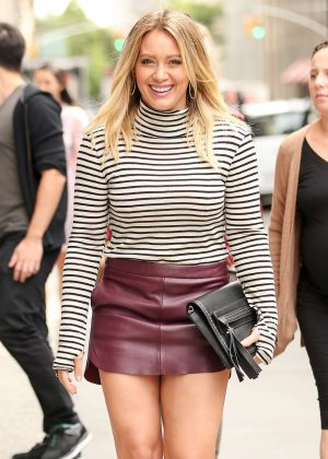 Hilary Duff in Short Leather Skirt out in New York