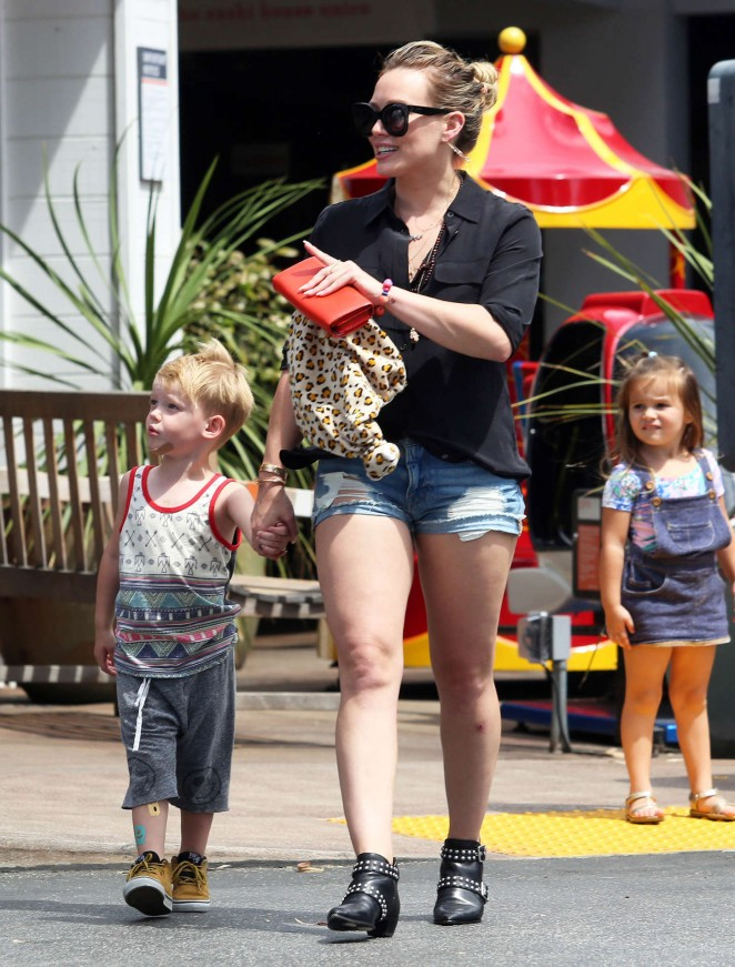 Hilary Duff in Jeans Shorts Out and about in LA