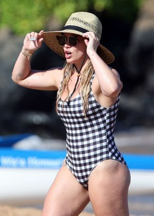 Hilary Duff in Swimsuit on the beach in Hawaii