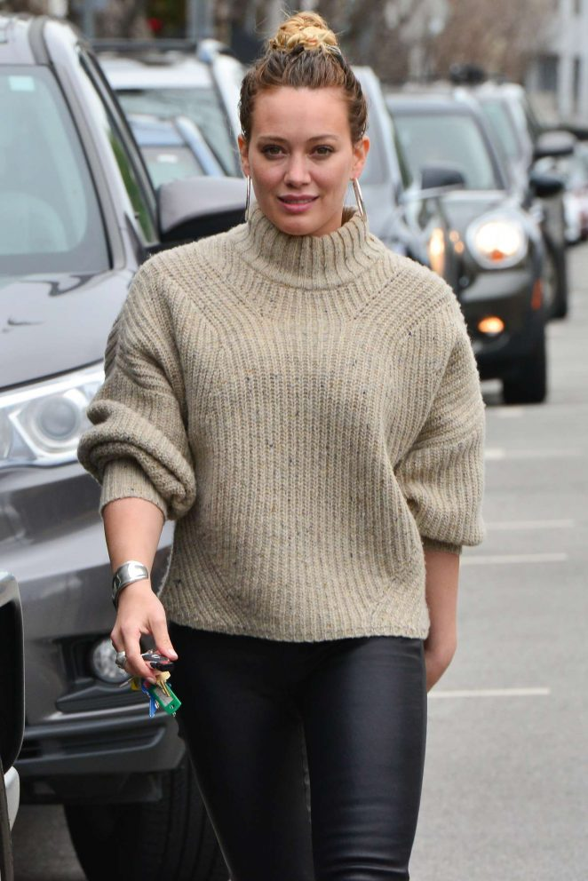 Hilary Duff in Tight Leather out in LA