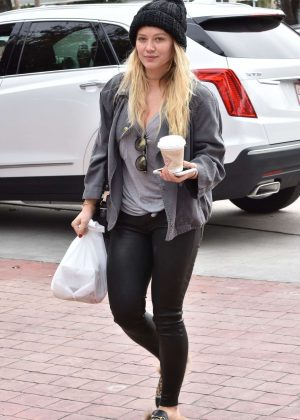 Hilary Duff in Tight Leather Out in Studio City