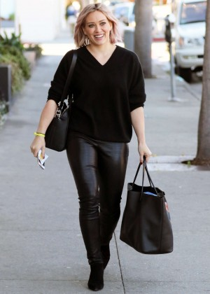 Hilary Duff in Tight Leather out in West Hollywood
