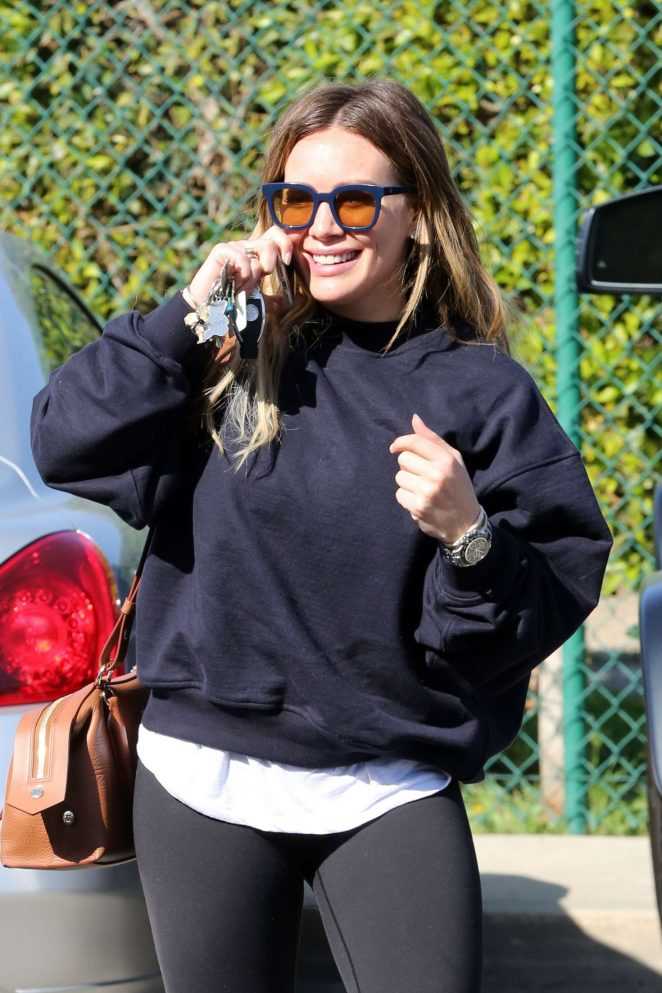 Hilary Duff in Tight Leggings - Visits a hair salon in Beverly Hills