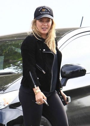 Hilary Duff in Tights at Ed's Coffee in West Hollywood