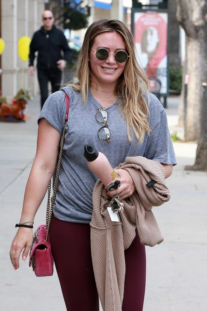 Hilary Duff in Tights Hits at the gym in LA