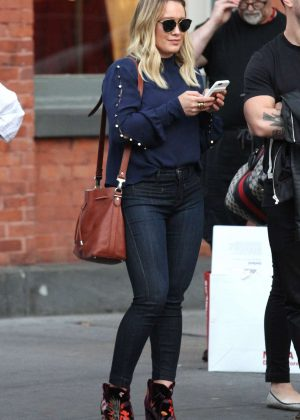 Hilary Duff in Tights Jeans Out in New York City