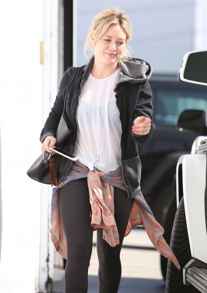 Hilary Duff in Tights Out in Beverly Hills