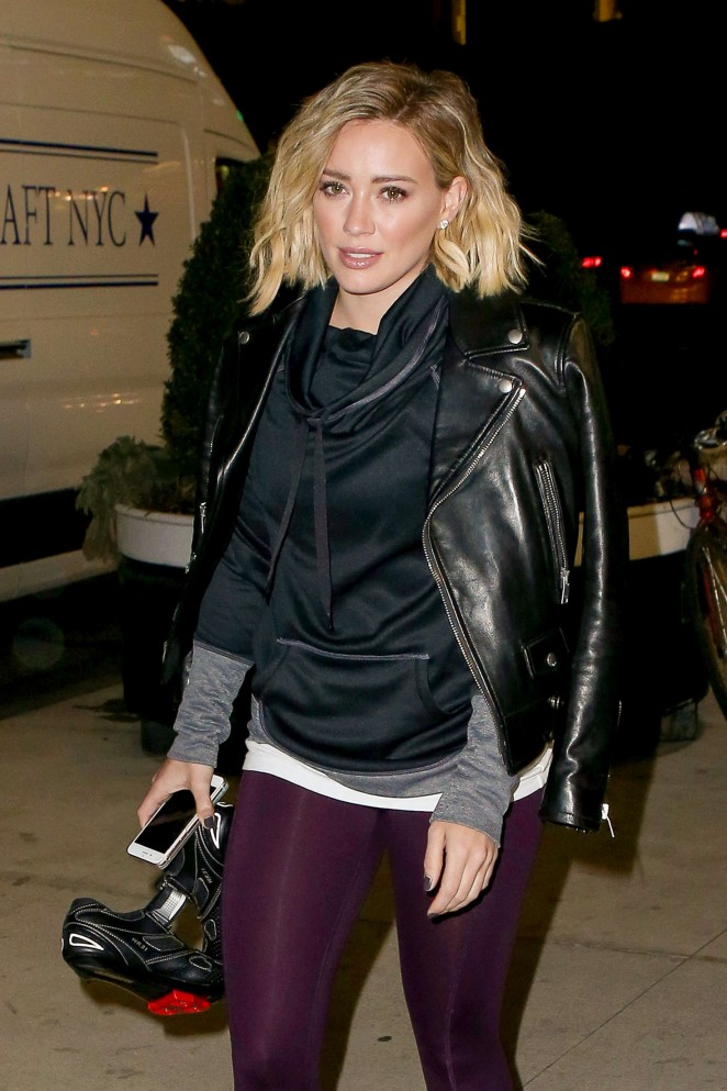 Hilary Duff in Tights out in New York