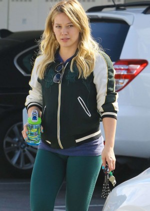 Hilary Duff in Tights Shopping at Bristol Farms in LA