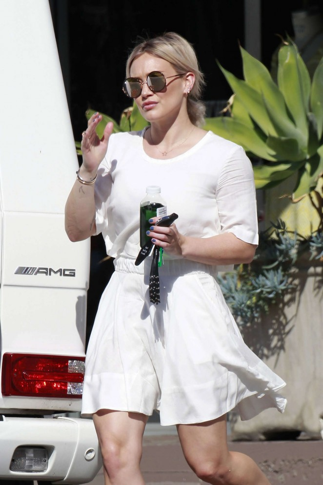 Hilary Duff in White Mini Dress out in Los Angeles