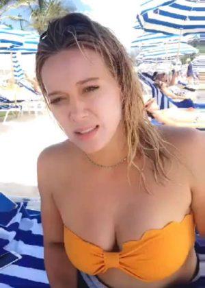 Hilary Duff in Yellow Bikini Top - Personal Pics