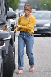 Hilary Duff in Yellow Sweater and Jeans - Out in Studio City