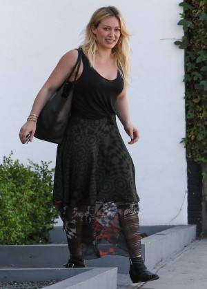 Hilary Duff in Long Dress Leaving the gym in Beverly Hills