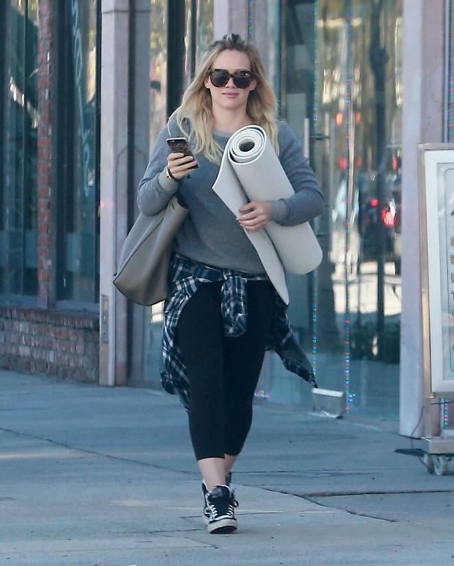 Hilary Duff in Tights Leaving Yoga Studio in LA