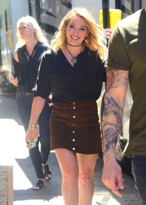 Hilary Duff in Mini Skirt On the Set of 'Younger' in New York City