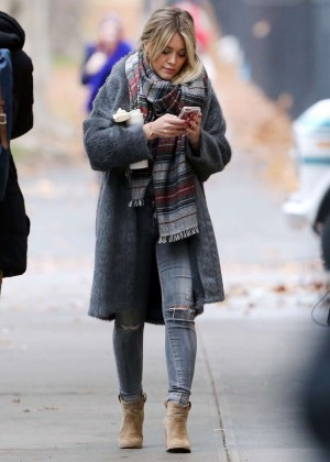 Hilary Duff in Jeans on the set of 'Younger' in NY