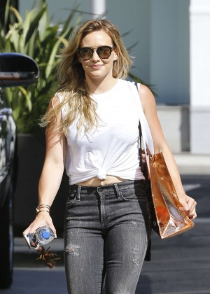 Hilary Duff in Tight Ripped Jeans out in Beverly Hills