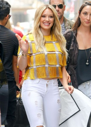 Hilary Duff in White Jeans out in New York