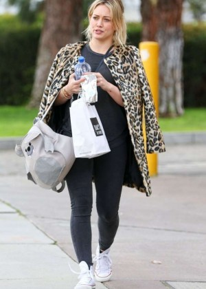 Hilary Duff in Leopard Print Coat out in West Hollywood