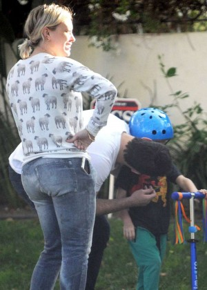 Hilary Duff in Jeans out with her kid in Toluca Lake