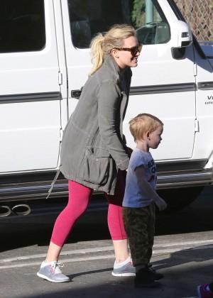 Hilary Duff in Pink Leggings out in Sherman Oaks