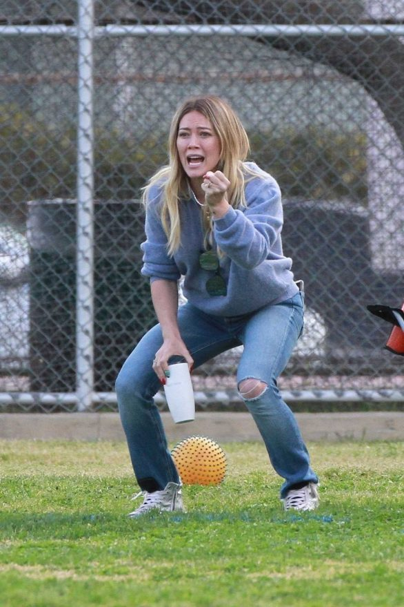 Hilary Duff - Seen at her son's football game in LA