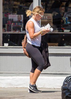 Hilary Duff in Leggings Shopping in New York
