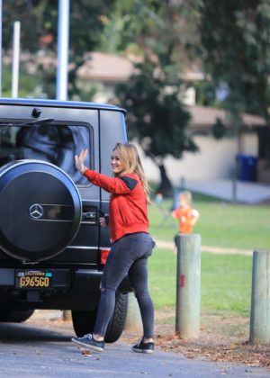 Hilary Duff - Takes her son to a baseball game in Studio City