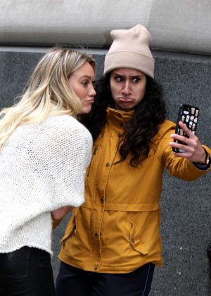 Hilary Duff talking a selfie with her fan in Manhattan