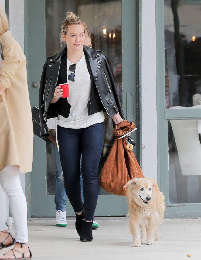 Hilary Duff walk her dog in Brentwood