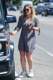 Hilary Duff - Wear summer dress while out in Studio City
