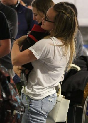 Hilary Duff with her puppy at LAX Airport in LA
