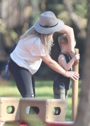 Hilary Duff - With her son at the park in LA