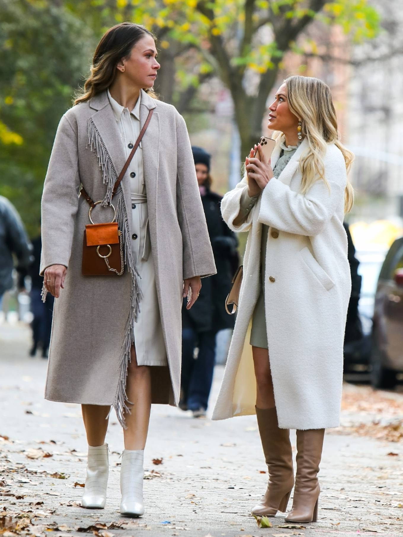 Hilary Duff - With Sutton Foster At the film set of the 'Younger' TV Series in New York