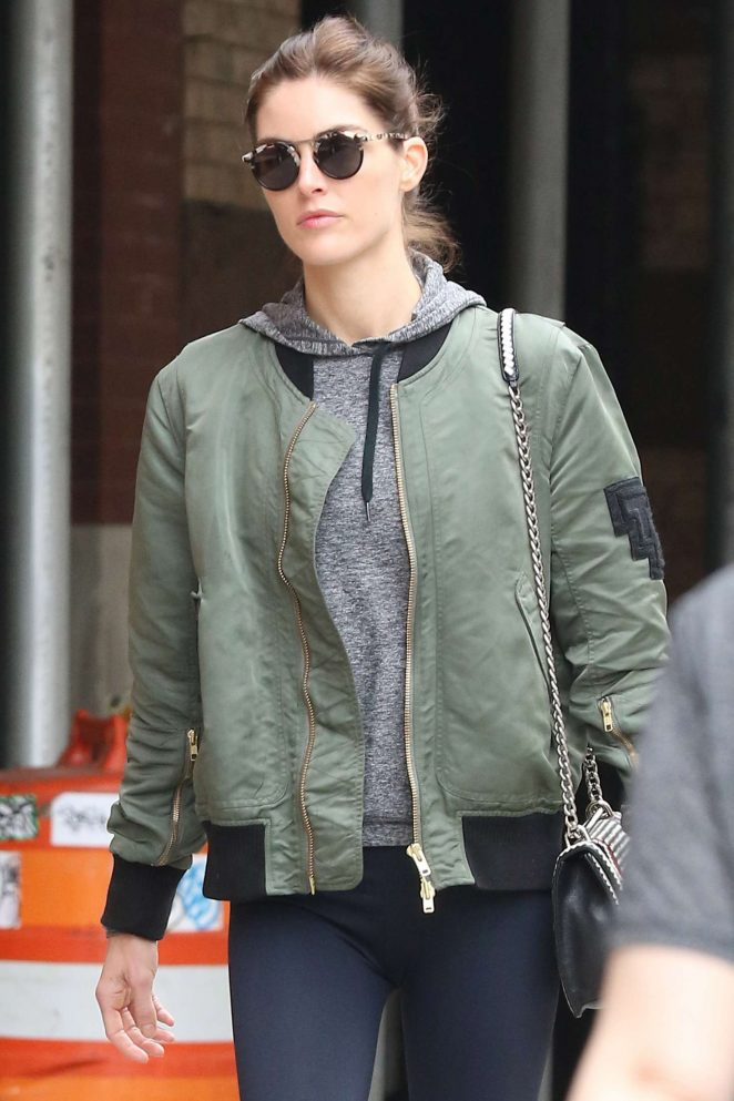 Hilary Rhoda in Tights walking around in New York