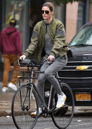 Hilary Rhoda Riding Bike in New York