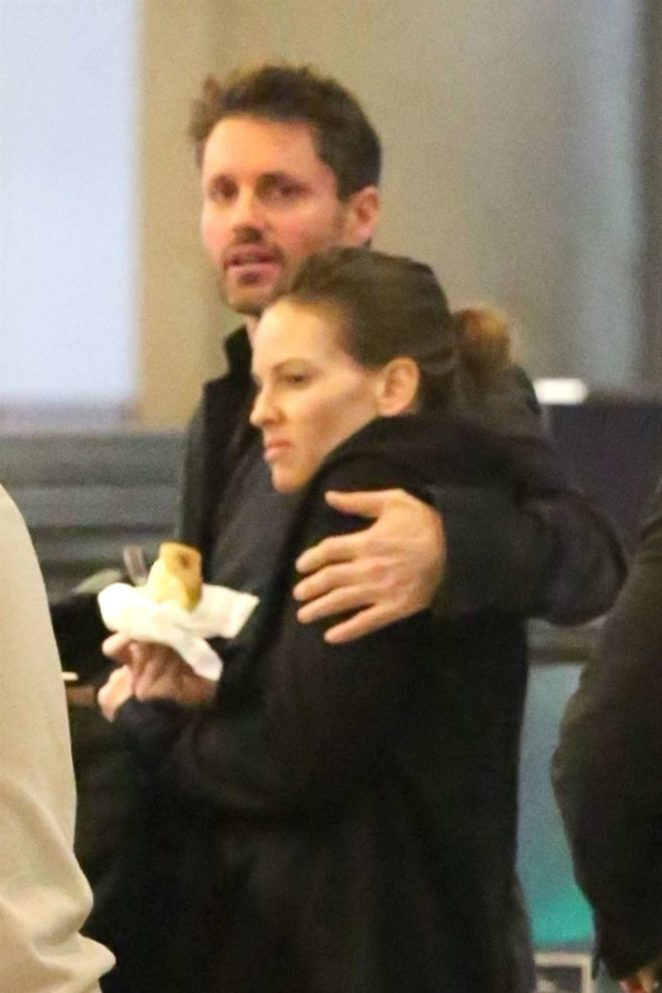 Hilary Swank and Philip Schneider at LAX Airport in Los Angeles
