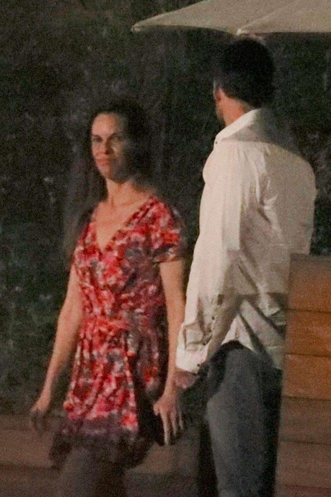 Hilary Swank and Philip Schneider - Leaves Soho House in Malibu