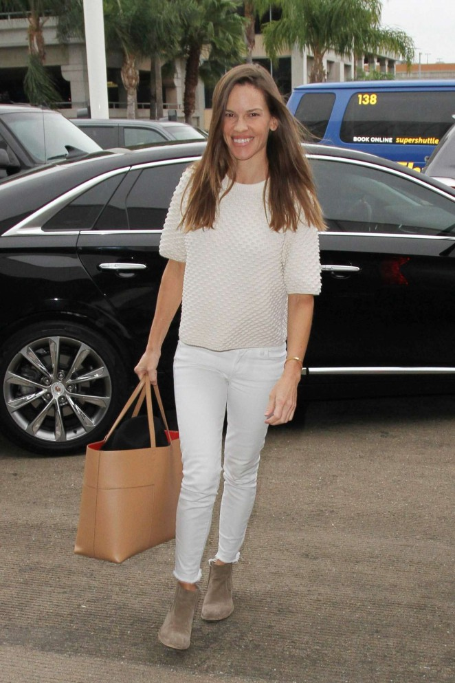 Hilary Swank - Arrives at LAX Airport in Los Angeles