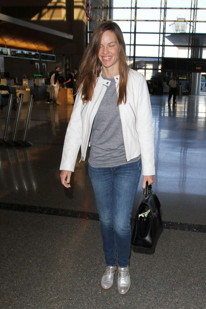 Hilary Swank at Los Angeles International Airport