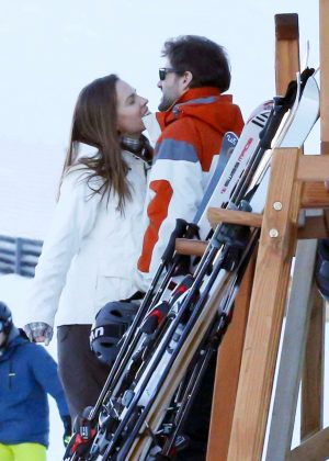 Hilary Swank enjoying the Swiss ski slopes in St Moritz